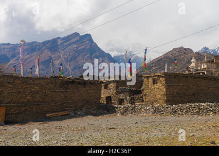 Landscape Photo Himalays Mountains Spring Authentic Village.Asia Nature Morning Viewpoint.Mountain Trekking View.Horizontal - Stock Image
