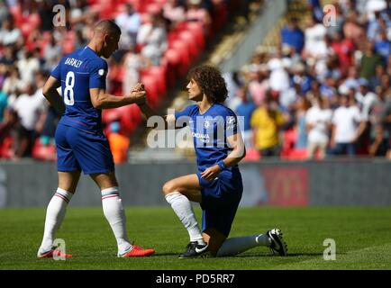 Ross Barkley of Chelsea and David Luiz during the FA Community Shield match between Chelsea and Manchester City at Wembley Stadium in London. 05 Aug 2018 - Stock Image