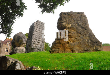 The ECOS standing stones in Frome around the amphitheatre at the community College ,right sandstone from Luxembourg centre limestone from Italy and le - Stock Image