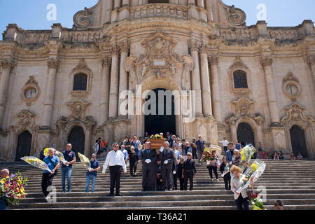 Traditional funeral at the Cathedral of San Giorgio in the city of Modica Alta famous for Baroque architecture, South East Sicily, Italy - Stock Image