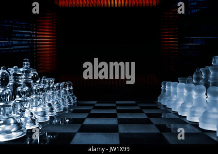 game of chess played by computer, microchips and transistors - Stock Image