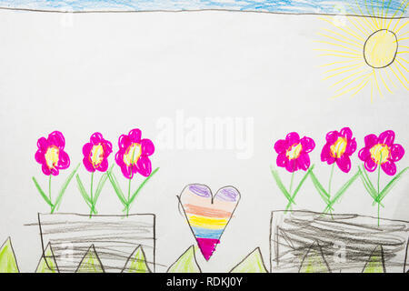 Colorful kid's drawing of flowers on a sunny day. - Stock Image