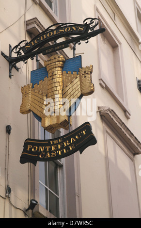 The Pontefract Castle Pub sign Wigmore Street London - Stock Image