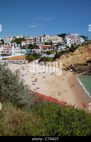 Portugal, Algarve, Carvoeiro, View of Town & Beach - Stock Image
