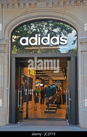 Adidas boutique, Paseo de Gracia, Barcelonna, Spain - Stock Image