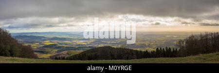 Panorama of the view from Mont Beuvray in the French region Morvan on a cloudy winter day - Stock Image