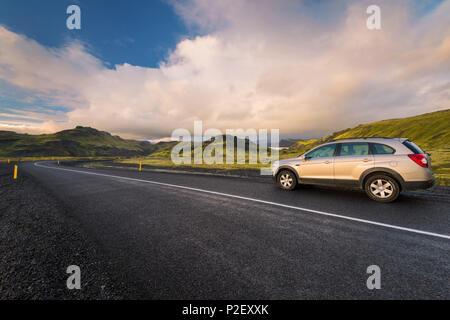 Jeep, Road, Highlands, Mountains, Sunset, Iceland, Europe - Stock Image