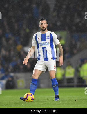 Shane Duffy of Brighton during the Premier League match between Brighton and Hove Albion and Leicester City at American Express Community Stadium , Brighton , 24 November 2018 Editorial use only. No merchandising. For Football images FA and Premier League restrictions apply inc. no internet/mobile usage without FAPL license - for details contact Football Dataco - Stock Image