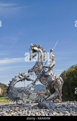 Manufactured Of Metal St. George Slaying The Dragon - Stock Image