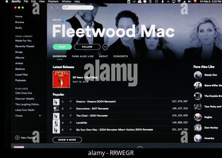 Fleeetwood Mac Spotify home page - Stock Image