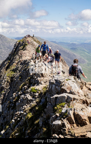 View back along Crib Goch ridge scramble with hikers scrambling at start of Snowdon Horseshoe in mountains of Snowdonia - Stock Image