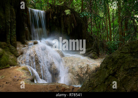 Small area of Erawan Waterfall in Kanchanaburi Province, Thailand. Erawan National Park is a main tourist attraction in Thailand. - Stock Image