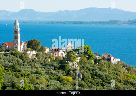 Kroatien, Dalmatien, Makarska Riviera, Igrane, am Horizont die Insel Korcula - Stock Image