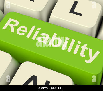 Reliability Computer Key Shows Certain Dependable Confidence - Stock Image