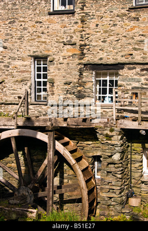 Lake District National Park UK ambleside Old Mill Water wheel one of the town's major attractions - Stock Image