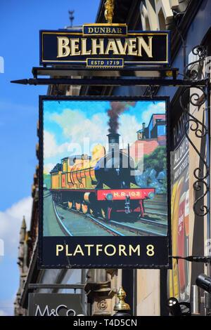 Platform 8 Pub sign, Academy Street, Inverness, Highland, Scotland, United Kingdom - Stock Image