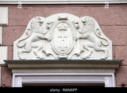 Gdansk Coat of Arms on a building at Dluga Street in the city centre - Stock Image