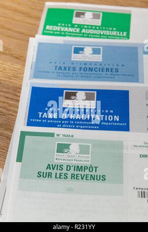 Paris, France - November 15, 2018 : The various French taxes return - Stock Image