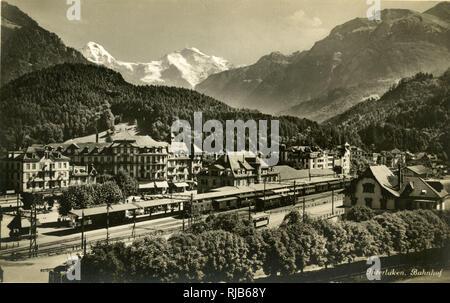 Interlaken and railway station, Bern, Switzerland. - Stock Image