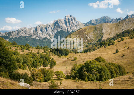 A panoramic landscape of Apennine mountains in Tuscany, Italy - Stock Image