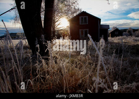 Wooden house on a frosty autumn morning in Sweden. - Stock Image