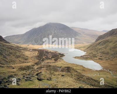 Llyn Idwal lake in Snowdonia Nation Park, North Wales UK - Stock Image