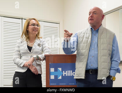 Garden City, New York, USA. 17th April 2016. GABBY GIFFORDS, former United States Congresswoman, smiles at her husband - Stock Image