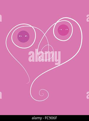 Couple in love bound together in a heart. - Stock Image