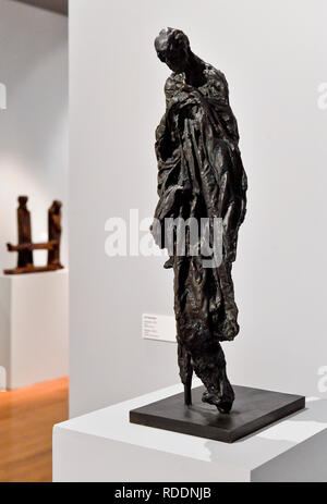 Prague, Czech Republic. 18th Jan, 2019. Exhibition 'Force of Act. Jan Palach and Jan Zajic In Art Between 1969 and 2009' was opened in the Museum Kampa in Prague, Czech Republic, on January 18, 2019. On the photo is seen sculpture called 'Pilgrim' by Jiri Sozansky. Credit: Vit Simanek/CTK Photo/Alamy Live News - Stock Image