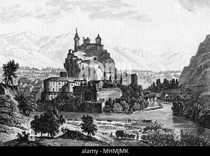 A picturesque engraving of the capital of the Ariege departement, which is dominated by a medieval castle situated on a high rock         Date: 1835 - Stock Image