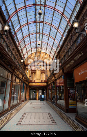 Newcastle-upon-Tyne, NE England city. The Victorian Central Arcade with glass roof. - Stock Image