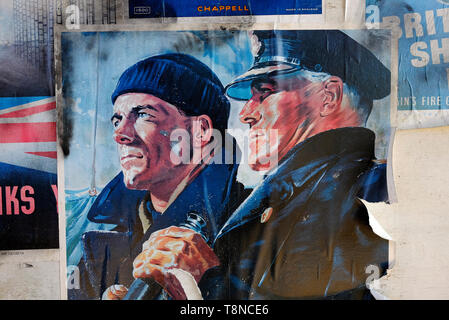 second world war military poster featuring naval officers - Stock Image