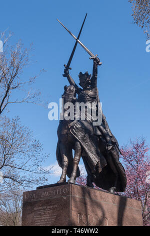 King Jagiello Monument, Central Park, NYC - Stock Image