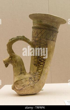 Painted Pottery Rhyton. Late 2nd-Early 1st BC, Parthian Period. Valiran, Damavand.Tehran, Iran. Iran National Museum - Stock Image