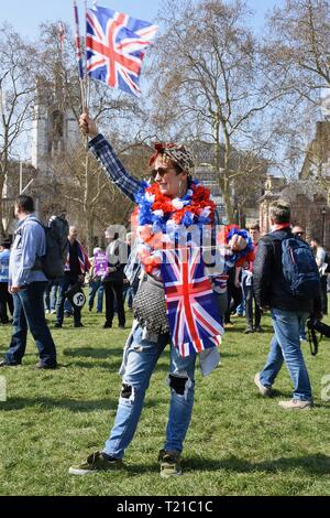 29th Mar 2019. March to Leave, Protesters gathered in Parliament Square on the day that the UK was originally due to leave the European Union, Houses of Parliament, Westminster, London. UK Credit: michael melia/Alamy Live News - Stock Image