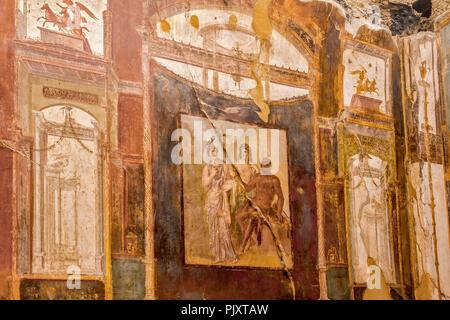 Wall paintings, Hall of Augustals, Herculaneum, Campania Italy - Stock Image