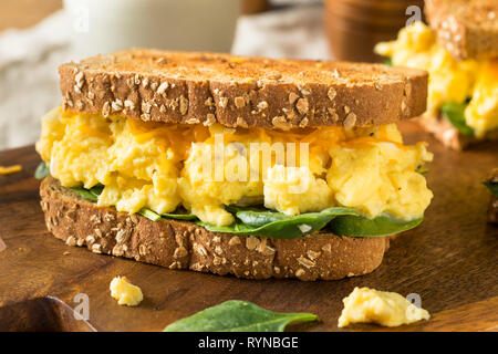 Hearty Homemade Egg Breakfast Sandwich with Lettuce and Cheese - Stock Image
