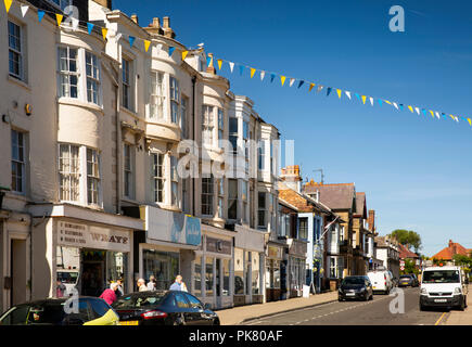 UK, England, Yorkshire, Filey, Belle Vue Street, shops with empty parking spaces outside - Stock Image