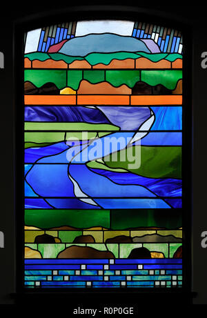 'Pentecost II', South aisle window by Brian Clarke. Christ Church, Thornton-le-Fylde, Lancashire, England, United Kingdom, Europe. - Stock Image