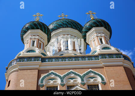 The Beautiful Russian Orthodox Cathedral Of Saint Nicholas In Nice, France, Europe - Stock Image