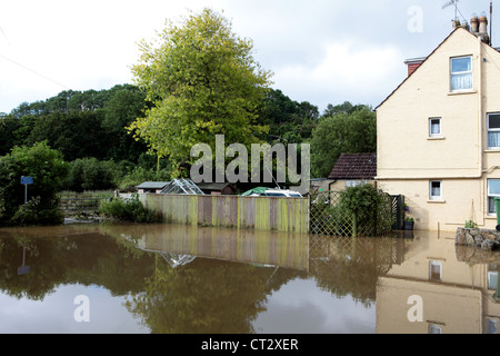 Weymouth Rains Flood Radipole Lane Prior to the Weymouth Sailing Olympics This Month - Stock Image