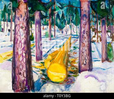 Edvard Munch, The Yellow Log, painting, 1912 - Stock Image