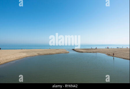 River mouth of Fuengirola river to mediterranean sea, Spain. - Stock Image