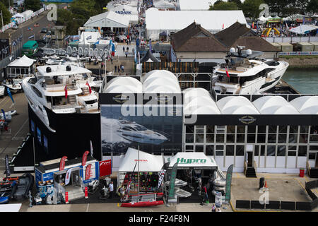 Southampton, UK. 11th September 2015. Southampton Boat Show 2015. A view of the boat show exhibition area from the - Stock Image