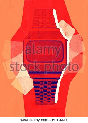 Digital Watch LED vintage retro distressed photo illustration - Stock Image