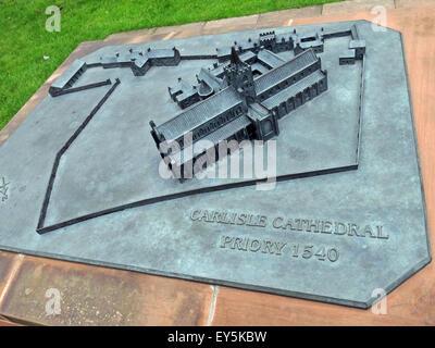 Bronze Model of Carlisle Cathedral, Cumbria, England, UK - Stock Image