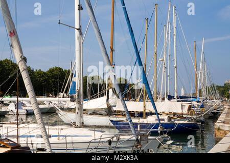 Boats along the river, Rimini, Emilia-Romagna, Italy - Stock Image