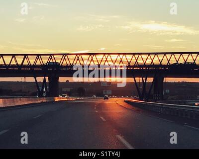 Bridge at sunset in Spain - Stock Image