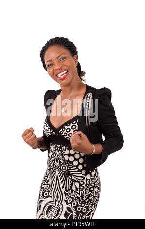 Young business woman showing her joy standing isolated on white background - Stock Image