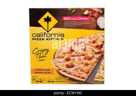 California Pizza Kitchen BBQ Chicken Recipe Crispy Thin Crust Pizza - Stock Image